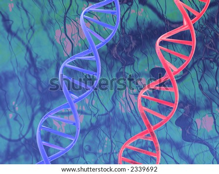 red & blue dna