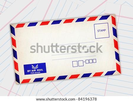 Red-blue edge postal envelope on paper background