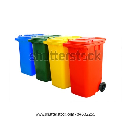 Red blue green and yellow recycle bins isolated