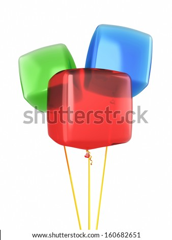 Red blue green cube balloons render isolated on white and clipping path