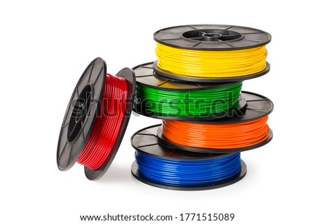 red, blue, green, orange, yellow filament for 3d printer isolated on white background Photo stock ©