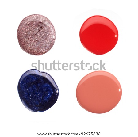 Red, Blue, Light Violet and Pink Nail Polish Drops Sample Isolated on White Background