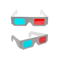 Red-blue paper glasses for view 3-dimensional films and images. Isolated on white background , clipping path included for design.