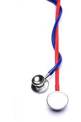 red/blue stethoscope isolated in white background