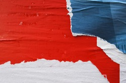 red blue white poster layers torn removed off a wall, ripped arty paper background
