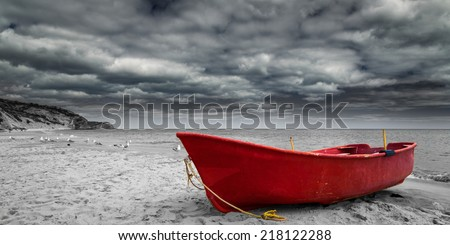 Red Boat in Black and White #218122288