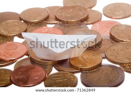 Red boat on euro coins
