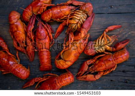 Red boiled crawfishes on table in rustic style, closeup. Lobster closeup.