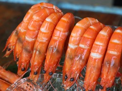Red boiled shrimp ready to eat in a plate,seafood,Big boiled shrimp, bright red, appetizing Beautifully arranged