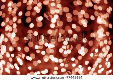 Red Bokeh Lights - Blurred Christmas Lights. Original Lens Blur. Red Bokeh Background - stock photo