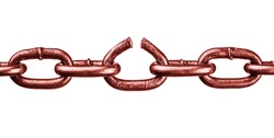 red boken chain isolated, freedon symbol