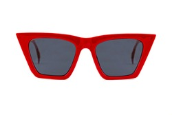 Red bold square wayfarer horn rimmed sunglasses with blue matte lenses and thick frames isolated on white background. Front view.
