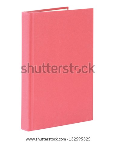 Red book standing isolated on white with clipping path.