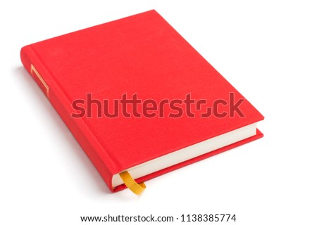 Red book with yellow bookmark isolated on a white background