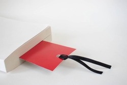 Red bookmark on a white background