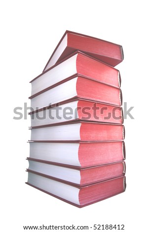 Red books for white background - stock photo