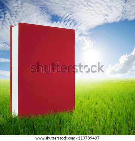 Red Books in green rice  fields and sun sky