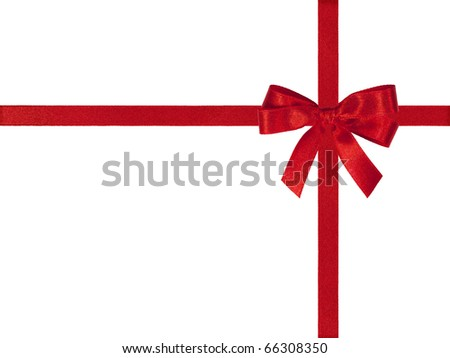 Red bow and crossed ribbons isolated on white.