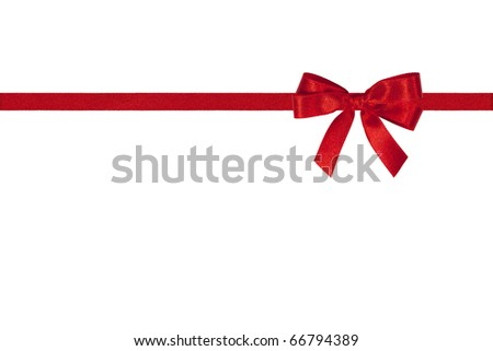 Red bow and horizontal ribbon on white.