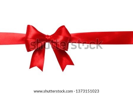 Red bow and ribbon isolated on white background. Insulation. #1373151023