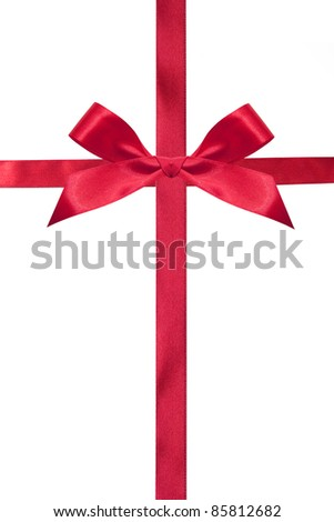 Red bow and ribbons isolated on a white