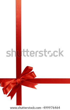 Red Bow Christmas Gift Ribbon Vertical 499976464