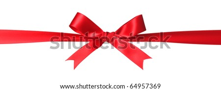 Red bow isolated on white - stock photo