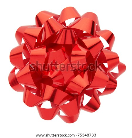 Red bow isolated on white background, clipping path included
