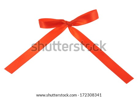 Red bow isolated over white background