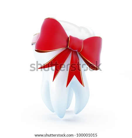 red bow tooth gift on a white background