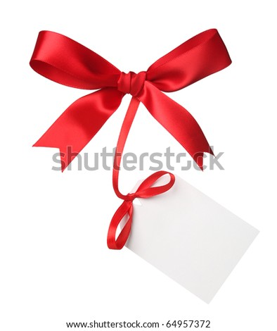 Red bow with blank label