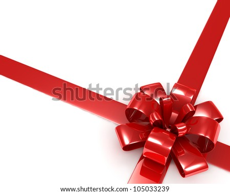 Red Bow with Ribbon - 3d render