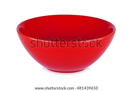 Red bowl isolated on white  background