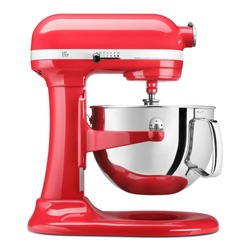 Red Bowl-Lift Stand Mixer Isolated on White. Small Electric Kitchen Appliances. Modern Kitchen Device Accessory. Side View Multi-Task Blender. 10 Speeds 600Wt Countertop Food Processor