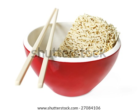 Red bowl of instant noodles, with chopsticks.