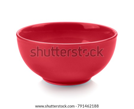 red bowl on white background