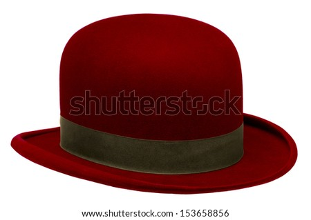 Red bowler or derby hat isolated against white background