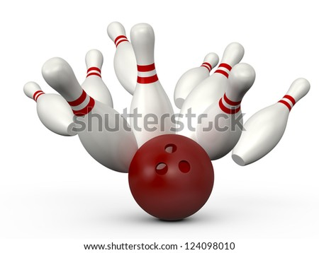 Red bowling ball crashes into the bowling pins with red stripes, isolated on white background.