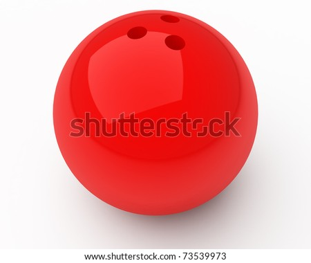 red bowling ball isolated over white