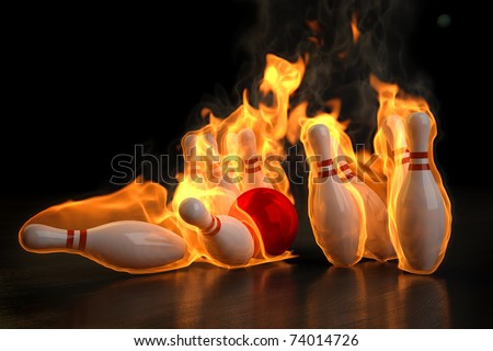 red bowling ball knocks down flaming skittles. 3d illustration.
