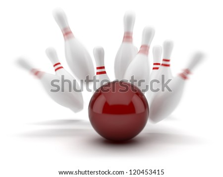 Red  bowling ball scoring a strike isolated on white background