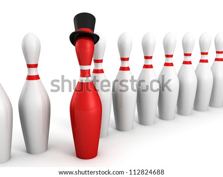 Red bowling pin leader in boss hat on white background
