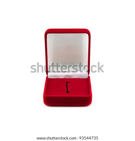 Red box for expensive gifts and decorations isolated on white background