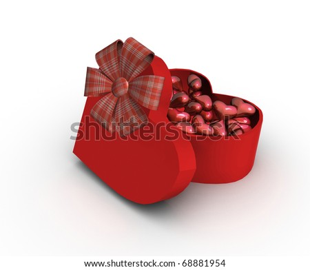 red box in heart shape on white - stock photo