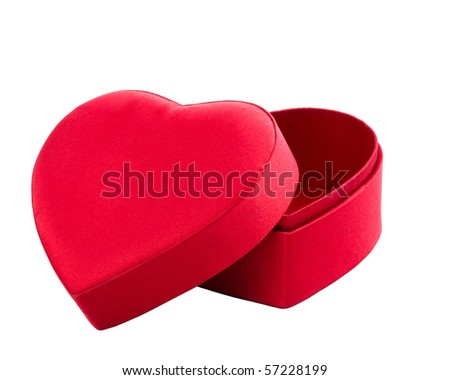 red box in heart shape on white with clipping path