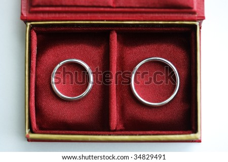 Red box with two Wedding rings - view from above