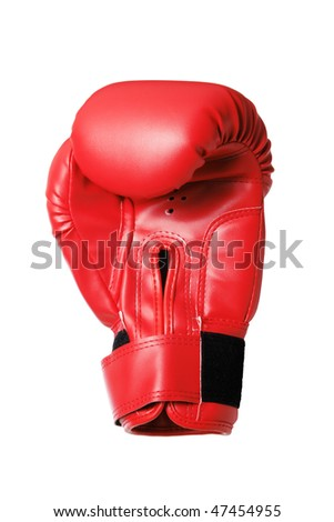 Red boxing-glove on the white background. (isolated)