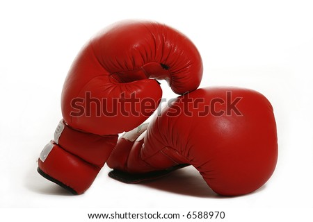Red boxing gloves - stock photo