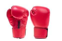 Red boxing gloves knock punch standing studio shot isolated on over white background, sport fight concept