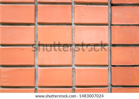Red brick background.  New flat and upper wall.  Close up.  Straight lines and straight angles. #1483007024